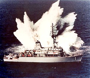 Avenger-class mine countermeasures ship - Shock trial of USS Avenger hull