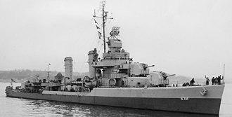 USS Cowie (DD-632) - Image: USS Cowie (DD 632) off Boston in June 1945
