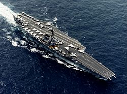 USS Forrestal (CV-59) underway at sea in 1987 (NH 97657-KN).jpg