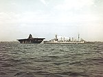 USS Franklin (CV-13) and USS Marblehead (CL-12) off New York in April 1945.jpg