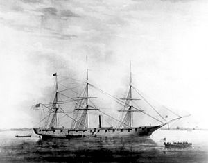 USS Hartford (1858) - A painting of USS Hartford by E. Arnold.
