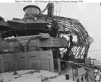 USS Michigan (BB-27) - Image: USS Michigan BB 27 collapsed cage foremast