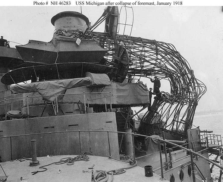 USS Michigan BB 27 collapsed cage foremast
