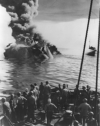 Ulithi - USS Mississinewa burns while sinking following an attack by Japanese kaiten.