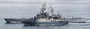 USS Texas (CGN-39) and Soviet AGI Kareliya (SSV-535) 1988
