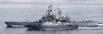 USS Texas (CGN-39) - Vishnya-class intelligence ship SSV-535 Kareliya and USS Texas (CGN-39) in 1988