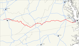 U.S. Route 460 - Image: US 460 map