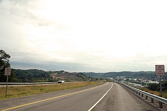U.S. Route 52 in West Virginia - A 2005 photograph of US 52 and WV 75 ending at an interchange stub south of Kenova, West Virginia.