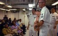 US Navy 050826-N-3455P-012 Hospital Corpsman 2nd Class Aaron L. Giacoletti talks to citizens of Majuro about cardiopulmonary resuscitation (CPR) and first aid aboard the amphibious assault ship USS Boxer (LHD 4).jpg