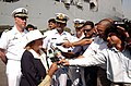 US Navy 051018-N-9288T-148 Consul General of the United States to Pakistan Mary H. Witt addresses Pakistani media during an offload of supplies from the dock landing ship USS Pearl Harbor (LSD 52) in Karachi, Pakistan.jpg