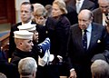 US Navy 051214-N-5390M-001 Chief of Naval Operations Adm. Mike Mullen and retired Adm. William Crowe look on as the honor guard leaves the U.S. Naval Academy Chapel during the interment ceremony of retired Vice Adm. William P.jpg