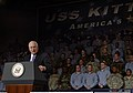 US Navy 070221-N-8492C-130 Vice President Dick Cheney speaks to a group of nearly 4,000 Japan-based military personnel, family members and Department of Defense civilian employees during a visit to USS Kitty Hawk (CV 63).jpg