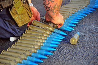 M242 Bushmaster - M793 Target Practice with Tracer (TP-T) rounds for the MK-38 being inspected.