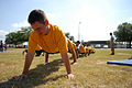 US Navy 090509-N-3674H-147 GULFPORT, Miss (May 9, 2009) Builder Constructionman Justin Hickey, assigned to Naval Mobile Construction Battalion (NMCB) 74, participates in a super squad competition during Seabee Day 2009.jpg