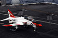 US Navy 091108-N-8913A-125 A T-45 Goshawk training aircraft assigned to the Tigers of Training Squadron (VT) 9 comes in for an arrested landing aboard the aircraft carrier USS Harry S. Truman (CVN 75).jpg