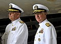 US Navy 100407-N-8273J-023 Rear Adm. William Landay III, left, and Chief of Naval Operations (CNO) Adm. Gary Roughead prepare to take the stage as part of the official party.jpg