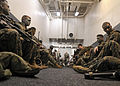 US Navy 100919-N-9950J-290 Marines assigned to the 31st Marine Expeditionary Unit (31st MEU) prepare for a simulated air raid aboard the forward-de.jpg