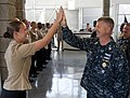 US Navy 110804-N-DR144-456 Master Chief Petty Officer of the Navy (MCPON) Rick D. West high fives Commander, Naval Surface Force U.S. Pacific Fleet.jpg
