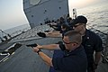 US Navy 110914-N-YM590-108 Sailors participate in a 9mm weapons qualification course on the forecastle of the guided-missile cruiser USS Anzio (CG.jpg