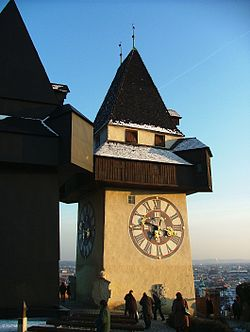 The Grazer Schloßberg Clock Tower.