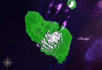 Umboi Island - Umboi Island seen from space. Also visible is Sakar Island. (false color)