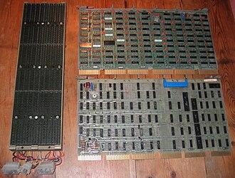 Unibus - Unibus backplane (left) and two printed circuit boards