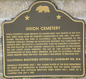 Union Cemetery (Redwood City, California) - Image: Union Cemetery (Redwood City, CA) CA Marker