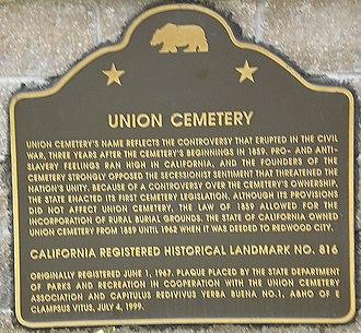 Union Cemetery (Redwood City, California) - Image: Union Cemetery (Redwood City, CA) CA Marker