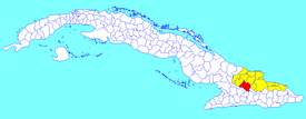 Urbano Noris municipality (red) within  Holguín Province (yellow) and Cuba