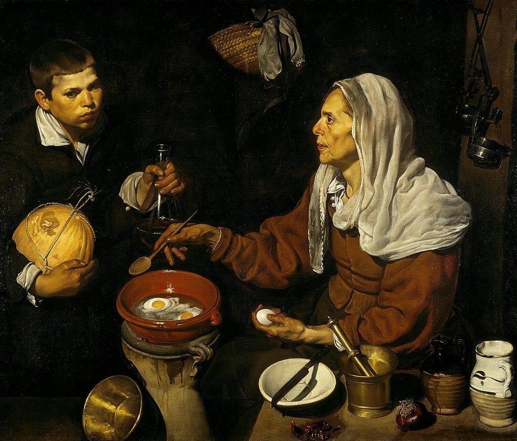 VELÁZQUEZ - Vieja friendo huevos (National Galleries of Scotland, 1618. Óleo sobre lienzo, 100.5 x 119.5 cm)