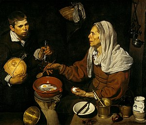 Diego Velázquez - Vieja friendo huevos (1618, English: Old Woman Frying Eggs). National Gallery of Scotland, Edinburgh