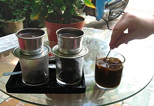 English: A pair of Vietnamese single-cup coffe...