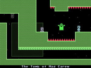"VVVVVV - In this room, Captain Viridian must avoid the red spikes and green ghost. The ""C"" icon to the left of the spike pit is a checkpoint, which the player is returned to upon dying."