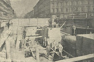 Oktogon (intersection) - Construction of the Millennium Underground (1896)