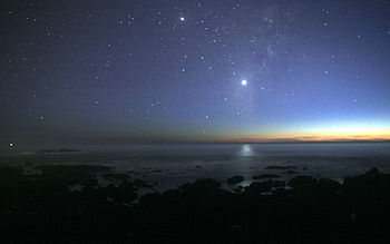 Venus reflected in the Pacific Ocean