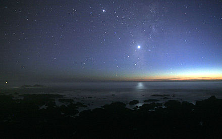 Venus is always brighter than all other planets or stars (except the Sun) as seen from Earth. The second brightest object on the image is Jupiter. Venus-pacific-levelled.jpg