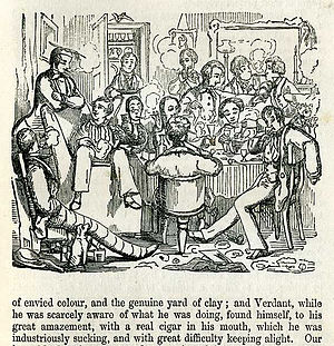 The Adventures of Mr. Verdant Green - Illustration by the author: The quiet wine party in Mr Smalls' rooms (Verdant Green is seated fourth left, with 'gig-lamps').