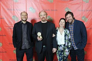 Louie (TV series) - Vernon Chatman, Louis C.K, M. Blair Breard and Dave Becky, the crew of Louie, present their Peabody Award.