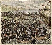 Peinture représentant des Européens en bateau tirant au canon et bataillant contre des indigènes.