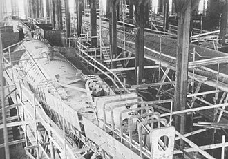 Crichton-Vulcan - The three ''Vetehinen'' class submarines side-by-side in the specially built construction hall