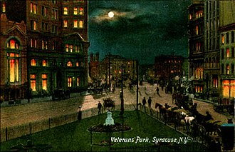 Hanover Square, Syracuse - Veteran's Park in Syracuse, New York about 1900 at night