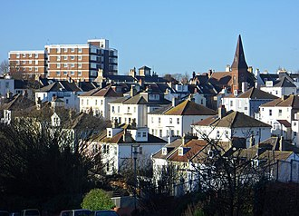 Prestonville, Brighton - Buildings at the south end of Prestonville include late-19th-century villas, terraced houses and the red-brick St Luke's Church.
