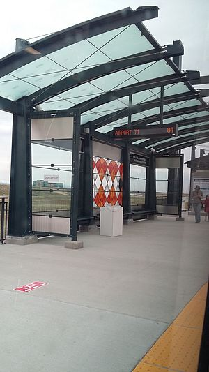 40th Ave & Airport Blvd–Gateway Park station - Train shelter seen from train during A-Line grand opening.