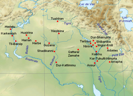 Mesopotamia in the Neo-Assyrian period (place names in French) Villes assyriennes.PNG