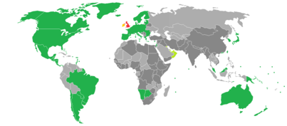 Map of visa policy of the United Kingdom United Kingdom Freedom of movement (EU/EEA/CH citizens) Visa-free entry for 6 months Electronic visa waiver countries Visa required for entry, and landside transit (unless holding exemption documents); visa-free airside transit Visa required for entry, and both landside and airside transit (unless holding exemption documents)