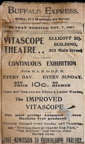 Edisonia Hall - An advertisement for Buffalo's Vitascope Theater from November 1897