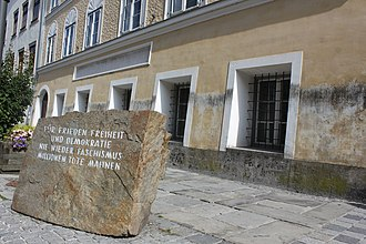 Braunau am Inn - Hitler's birthplace with memorial stone