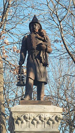 Volunteer FD statue 1891 Church Sq Hoboken jeh.jpg