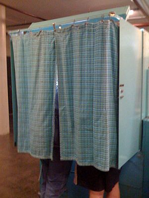 A voting booth in Buffalo, New York