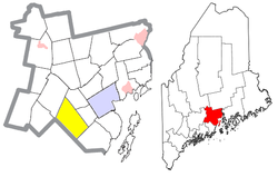 Location of Searsmont (in yellow) in Waldo County and the state of Maine